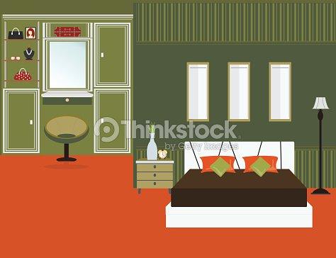 Int rieur de la chambre coucher un t l viseur clipart for Chambre flat design