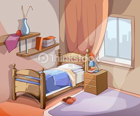 int rieur de la chambre coucher dans le style de dessin anim illustration vectorielle clipart. Black Bedroom Furniture Sets. Home Design Ideas