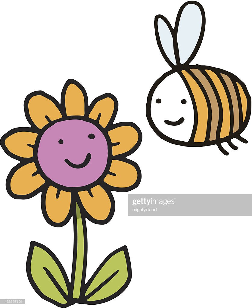 bee and flower cartoon on white background vector art getty images