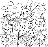 A bee flying on flowers in springtime. Black and white coloring book page.