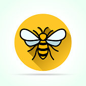Illustration of bee in yellow circle icon