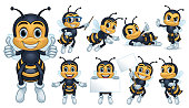 Design of bee characters with 9 poses, vector eps 10 format.