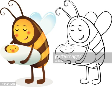 Bee mother and child : Vector Art