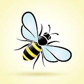 Illustration of bee on white background
