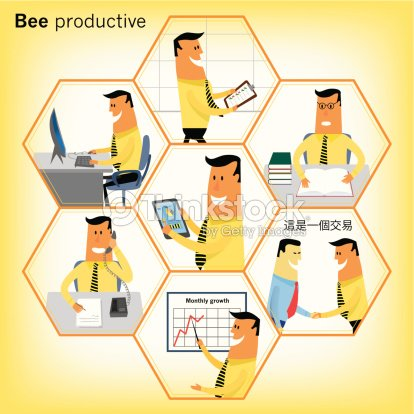 bee series businessman performing different office tasks vector art