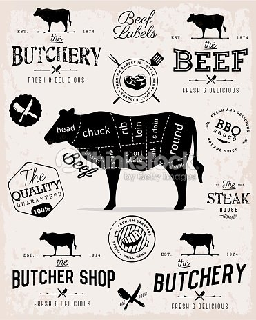 Beef Cuts Diagram And Butcher Shop Badges Labels And Design Elements