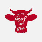 Beef label, print, poster for butcher shop, farmer market, steak house. Red cow head silhouette. Beef, fresh hand written lettering. Vector illustration.