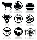 Food icons set - beef, BBQ, restaurant isolated on white