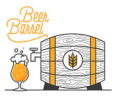 Beer barrel minimal vector illustration. Line design. Wheat beer in a barrel for pub designs. Wooden barrel with a good drink and typo design. Open the tap and set beer free