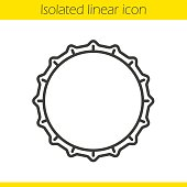 Beer bottle cap linear icon. Thin line. Vector