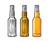 Beer bottle. Drawing in three graphic styles. Color vintage engraving and flat vector illustration. Isolated on white background. For web, poster and invitation to party