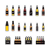 Beer bottle, box colored icon set. Vector