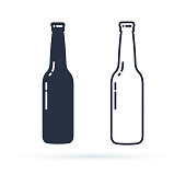 Beer bottle vector icon. Alcohol Drink filled and line icons set on a white background. Isolated in a trendy flat style. Vector illustration. Glass bottle symbol for your web site, icon design