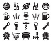 beer, brewing, ingredients, consumer culture. set of black icons on a white background