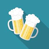 Beer clinking glasses flat design icon symbol Oktoberfest