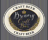 Template beer label with wheat ears and handwritten inscriptions in oval frame. Vector label or banner for craft beer and brewery on striped background in retro style