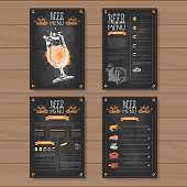 Beer Menu Set Design For Restaurant Cafe Pub Chalked On Wooden Textured Background Vector Illustration