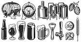Beer object set in vintage style. Detailed vector illustration