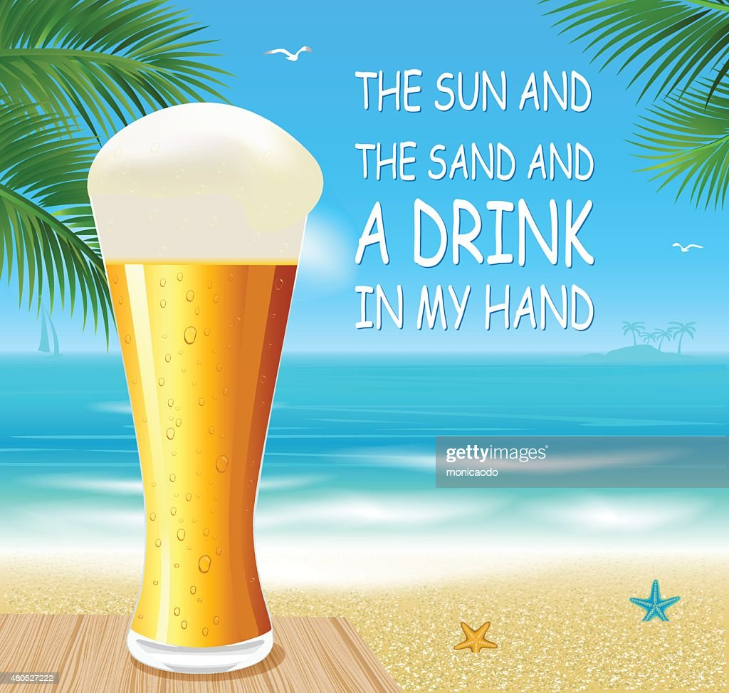Beer on a beach : Vector Art