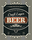 Beer alcohol drink bottle label of bavarian brewery craft lager. Beer, lager or ale retro banner with frame border of vintage scroll and hop branch for bar, pub or brewery emblem design