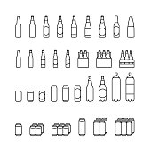 Set line icons of beer bottles, cans and multipacks. On white background