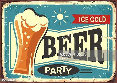 Beer party retro pub sign : Vector Art