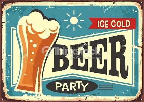 Beer party retro pub sign : stock vector
