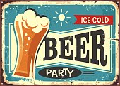 Beer party retro pub sign with beer glass on blue background