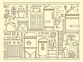 Beer production stage on white background. Vector illustration