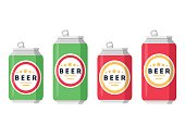 Beer set. A collection of beer cans in different colors on a white background. Isolated in a trendy flat style. Vector illustration.
