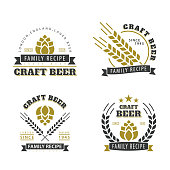 Set of vector emblems. Illustration of the emblem of homemade beer. Kraft design. Sticker for advertising your design. Hipster style and fashion.