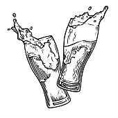 Two glasses of beer toasting creating splash. Vintage vector engraving illustration for web, poster, invitation to party. Hand drawn design element isolated on white background.
