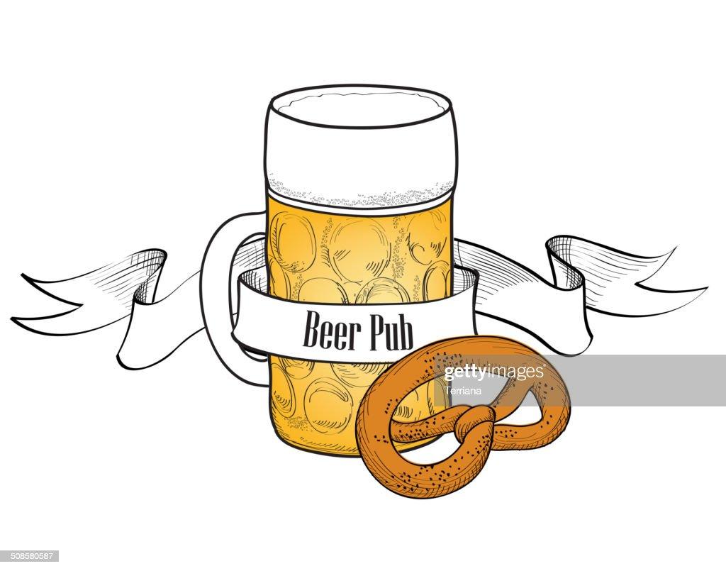 Beer symbol. Full Beer Glass with pretzel. Beer bar banner : Vector Art