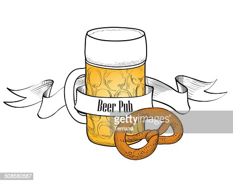 Beer symbol. Full Beer Glass with pretzel. Beer bar banner : Vektorgrafik