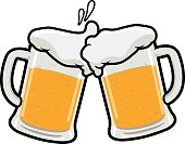 Vector illustration of two beer mugs toasting