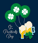 beers with balloons helium and clover of st patrick day vector illustration design