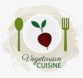 beet vegetarian cuisine organic food plate and spoon fork vector illustration eps 10