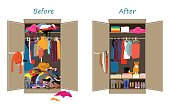 Before untidy and after tidy wardrobe. Messy clothes thrown on a shelf and after decluttering, when most of clothing is carefully folded in shoeboxes and nicely arranged. Flat design vector illustrati