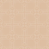 Beige and white geometric ornament. Seamless pattern for web, textile and wallpapers