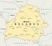 Belarus Political Map with capital Minsk, national borders, important cities, rivers and lakes. English labeling and scaling. Illustration.