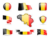 Belgium Flags Collection. Flags and contour map. Vector illustration