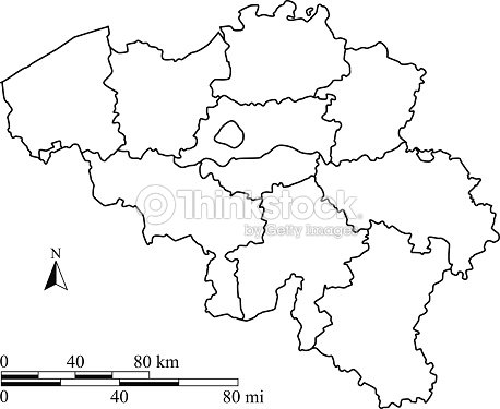 Belgium Map Outline Vector With Scales In A Blank Design Vector - Blank physical map of belgium