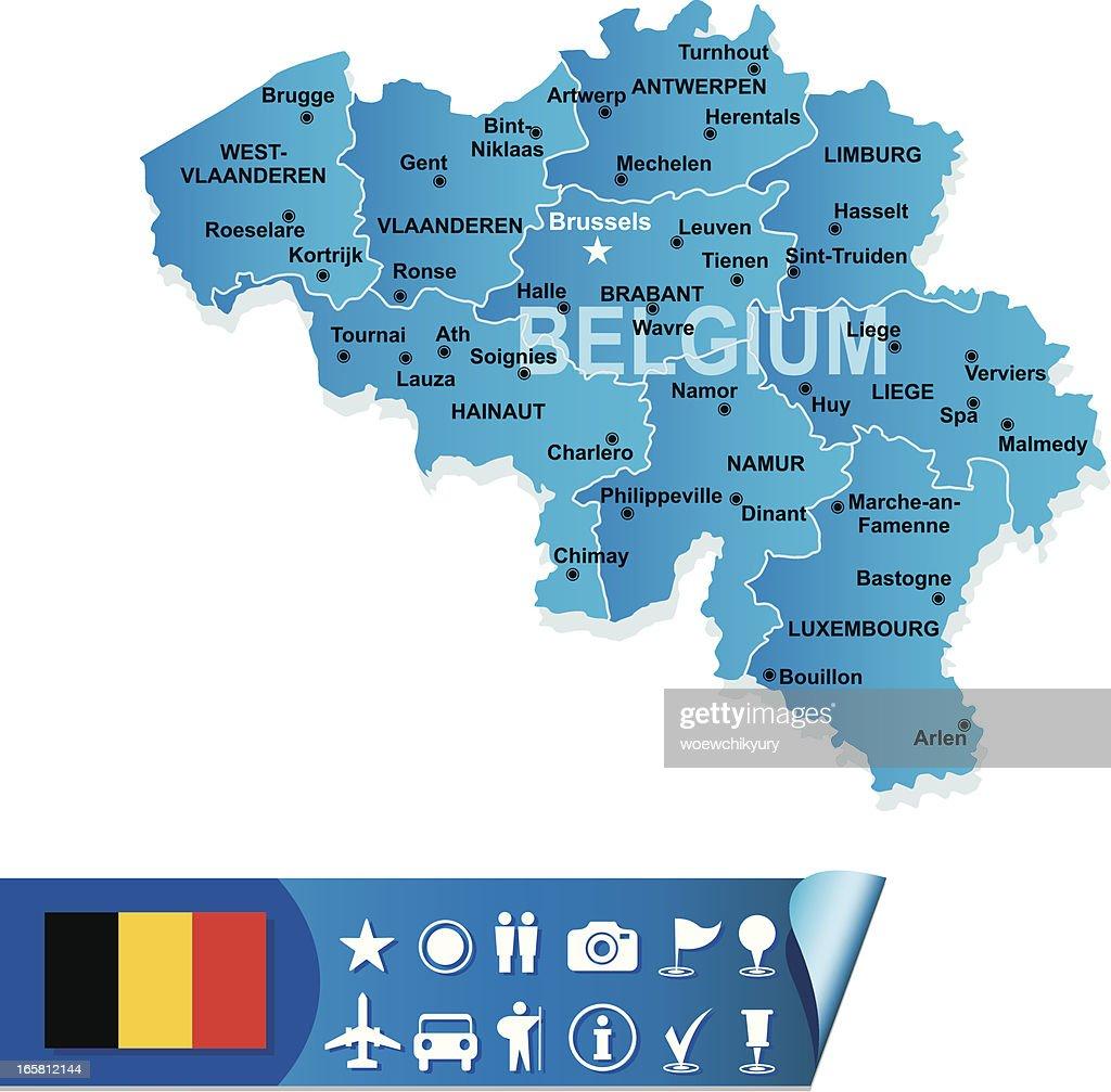 Blue Belgium Map Icon Vector Art – Belgiummap