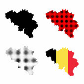 Belgium map vector set