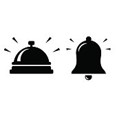 Vector art: two bell icons isolated on white, bright background.