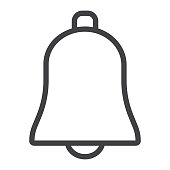 Bell line icon, web and mobile, ring sign vector graphics, a linear pattern on a white background, eps 10.