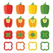 Set of bell peppers of different colors, cut and sliced. Flat cartoon style vector illustration.