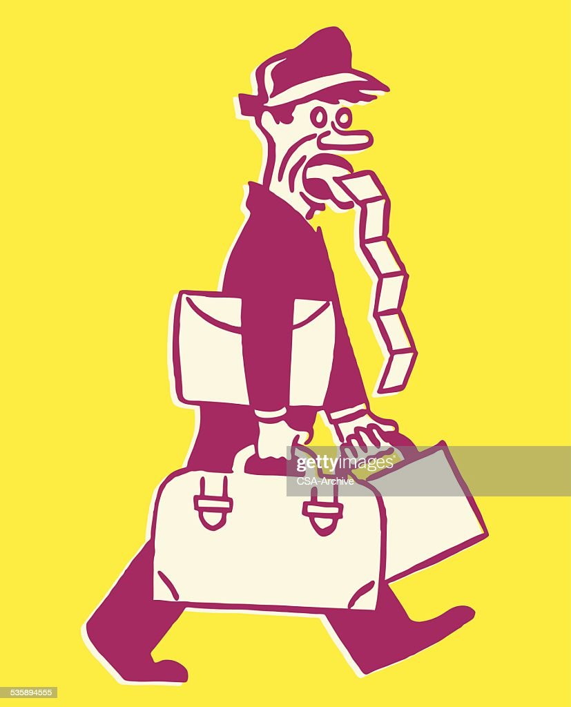 Bellhop with Luggage and Mouthful of Tickets : Vector Art