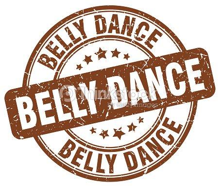 Belly Dance Brown Grunge Round Vintage Rubber Stamp Vector Art
