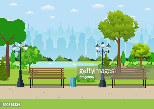 Bench with tree and lantern in the Park. : stock vector